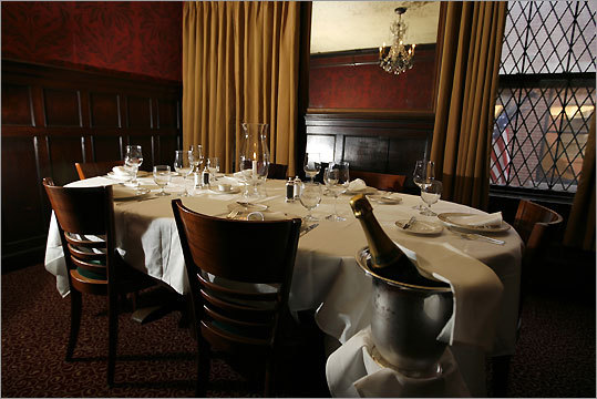 Locke-Ober, the traditional lair of Boston's power brokers, was also a favorite dining spot of Kennedy's. While plotting his run for the presidency, he often had policy discussions with Harvard intellectuals in one of the rooms on the third floor. One of the private rooms is