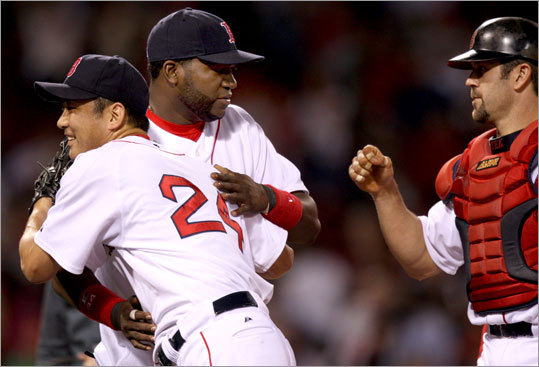 Red Sox reliver Takashi Saito and Jason Varitek also saluted Ortiz following the game.