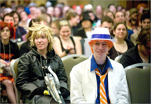 Matchmaker, matchmaker: Crowd members watched the anime dating game at the convention.