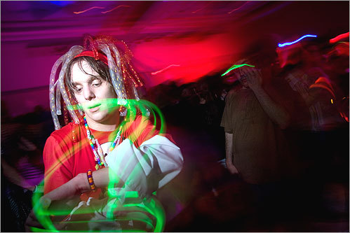 Kevin 'Wolfie' Flavin of Bridgewater, N.J., also broke out the glowsticks at the dance Friday night. (Love the hair!)