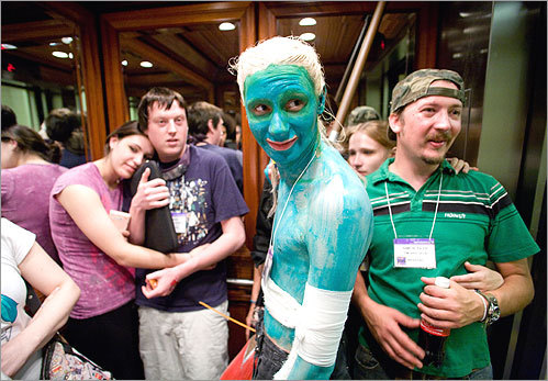 Paul Korade — dressed as his 'World of Warcraft' character Daklu — rode the elevator back to his room.