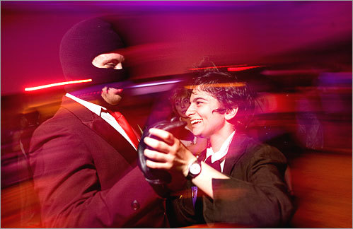 Jack Placidi (dressed as the spy from 'Team Fortress 2') and Alissa Blechner (dressed as Malcolm Reynolds from 'Firefly') shared a dance at the Black Orchid Ball. 'We're the weirdest couple' Blechner said. 'One of us is a righteous criminal and the other is a backstabbing spy.'
