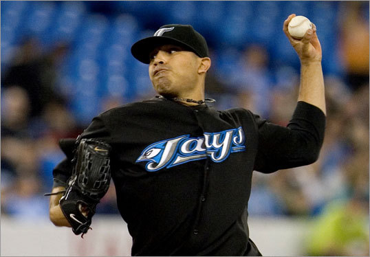 Blue Jays starting pitcher Ricky Romero delivered to the Red Sox during the first inning.