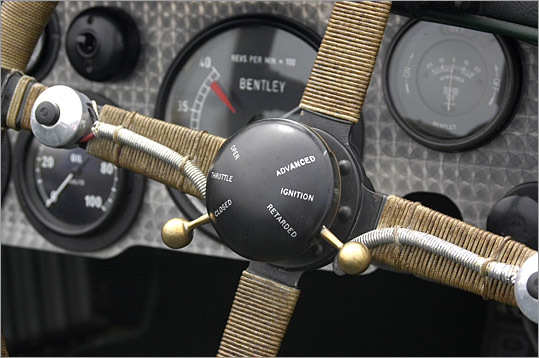 Throttle and ignition controls on an early Bentley.