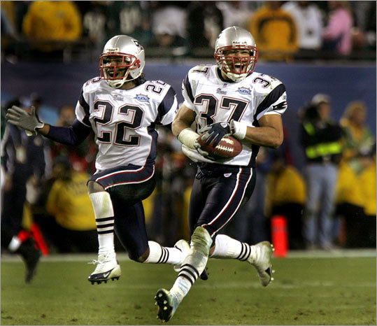 The Patriots had a late 24-14 advantage in the Super Bowl XXXIX, but the Philadelphia Eagles scored with less than two minutes left in the game to cut the lead to three. With nine seconds left, Harrison intercepted quarterback Donovan McNabb's third down pass to seal the win and give the Patriots their third Super Bowl title in four seasons. Earlier in the game he intercepted a pass at the New England three yard line to stop a Philadelphia offensive drive.
