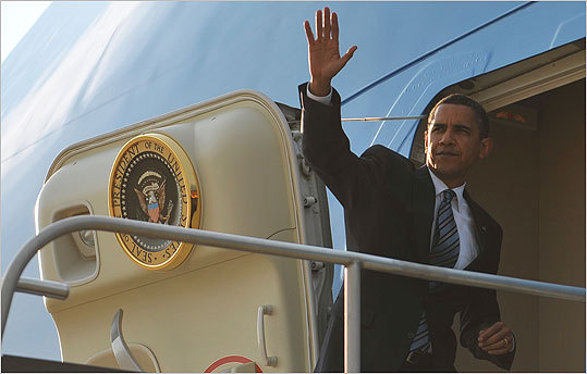 President Barack Obama makes his way to board Air Force One Tuesday at Dulles International Airport in Chantilly, Virginia. Obama is starting a 4-day trip which will take him to Saudi Arabia, Egypt, Germany and France.