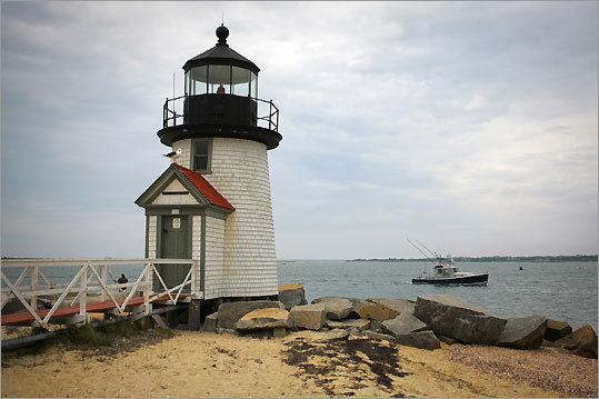The Brant Point Lighthouse at the entrance to the harbor on Nantucket Island.