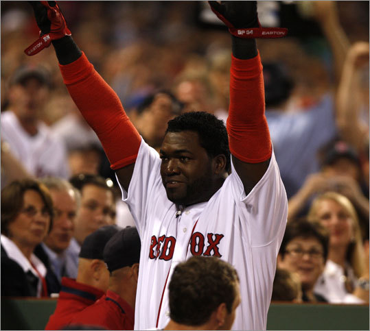 Ortiz came out for a curtain call after his homer. He has had a Fenway curtain call after each of his two home runs this season.