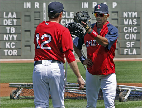 Red Sox shortstops Jed Lowrie (left) and Julio Lugo (right) crossed paths as Lugo came off the field after taking extras grounders a couple of hours before the game, and Lowrie was on his way out to do the same.