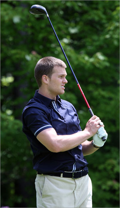 Tom Brady watched his drive in the longest drive competition. Brady's top drive traveled 281 yards, good for second place.