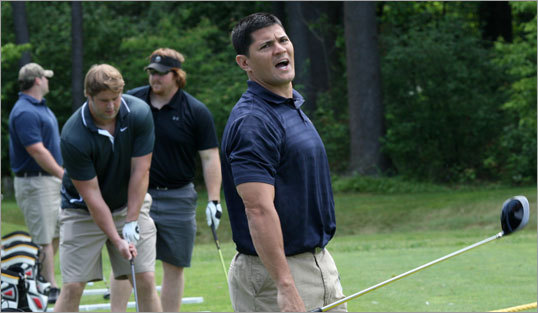Patriots linebacker Tedy Bruschi used just two of three potential swings, but -- with a blast of 287 yards -- edged quarterback Tom Brady in the long-drive competition.
