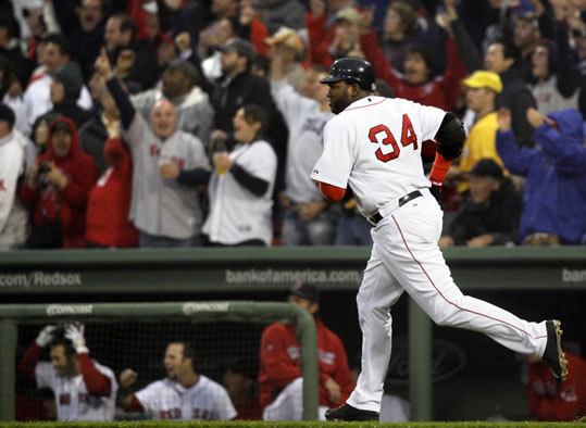The crowd behind the Red Sox dugout erupted when struggling Sox slugger David Ortiz hit a two-run home run to center field to get the Sox off and running in the second inning.