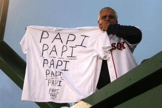 Gerard Monroe, from Harwinton, Conn., wanted to make sure David Ortiz's eyes checked out last night ...