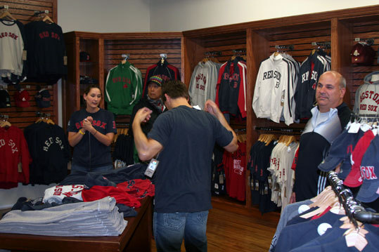 Fans stepped out of the rain before the game to do some souvenir shopping at the new 47 shop inside the Yawkee Way store.