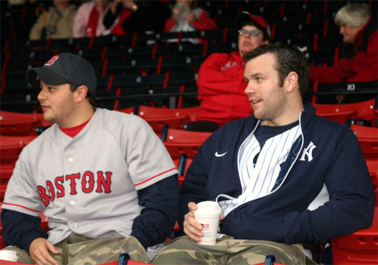 Red Sox fan Nick Lepiane (left) from Buffalo, N.Y. and Yankees fan Ryan Wilcox, from Niagra Falls, left Buffalo at 9 p.m. on Monday night to make it to the game.