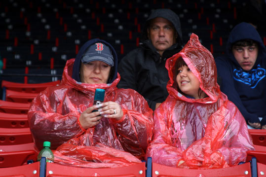 Did we mention that it was a wet night at Fenway Park?
