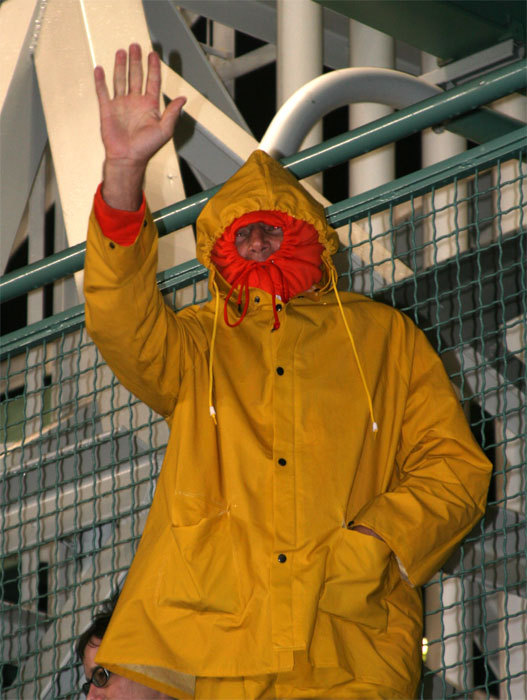 Weather conditions were perfect at Fenway for this Gorton's Fisherman impersonator and others who felt comfortable on a wet night in Boston.