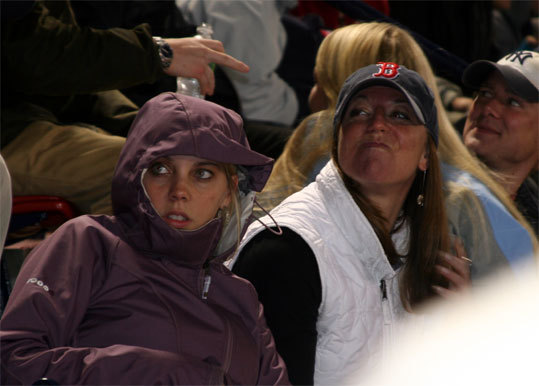 Fans in the State Street Pavilion were bundled up when Big Papi stepped to the plate in the bottom of the sixth inning.