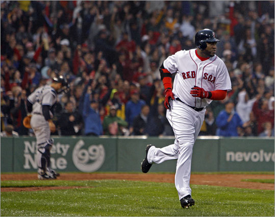 David Ortiz runs to first after hitting his two-run homer off Burnett.