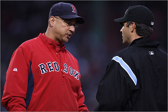 Manager Terry Francona came out to argue Swisher's safe call at first.