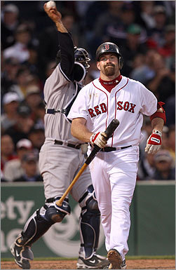 Kevin Youkilis wasn't too happy after striking out in second.