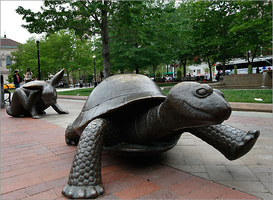 Kids of all ages will enjoy the racing-inspired statue of a tortoise lumbering ahead of a hare near Trinity Church. Address: 206 Clarendon Street