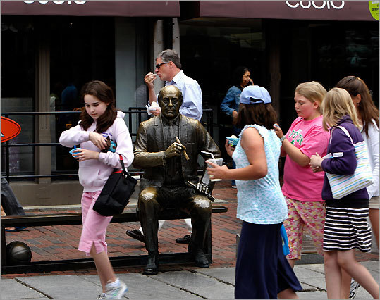 A short walk from the Garden is a statue of Red Auerbach, the legendary Celtics coach, clutching his signature stogie and holding court from a bench outside Quincy Market. GPS coordinates: Lat: 42.359987 Lon: -71.054163
