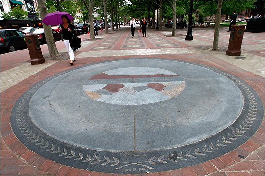 In nearby Copley Square, a 15-foot granite medallion embedded on the Boylston Street side features geographic and topographical maps of the marathon course encircled by the names, countries, and finishing times of previous winners. GPS coordinates: Lat: 42.350338 Lon: -71.076136