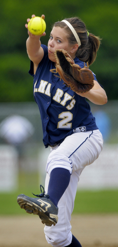 St. Mary's Samantha Kiley pitches against Monty Tech in the third inning.