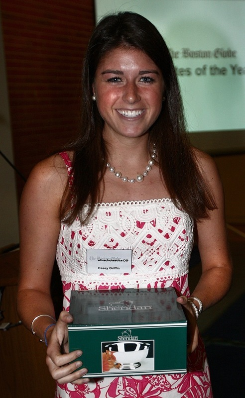Nobles's Casey Griffin accepts her award for NEPSAC female Athlete of the Year.