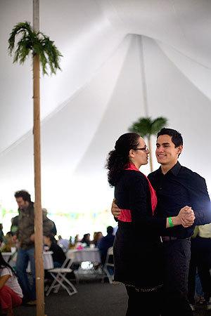 Erica Mattison and her boyfriend Miguel Baquerizo danced under the tent.