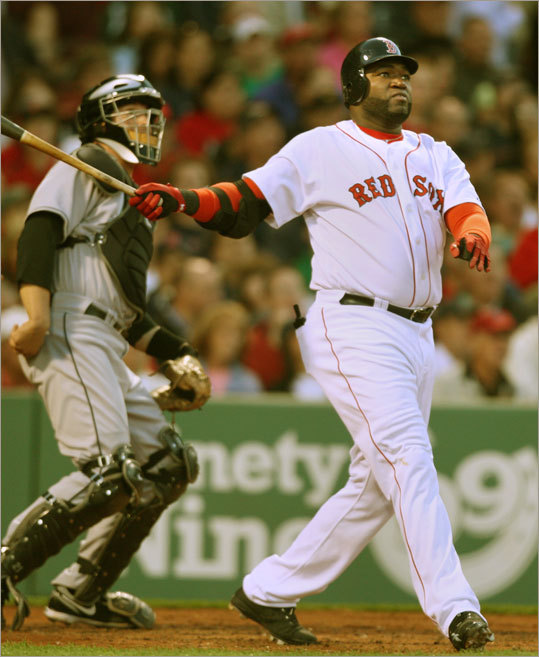 David Ortiz watches his fourth-inning home run leave the yard. It was his fifth longball of the season.