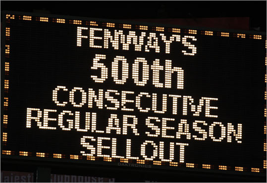 The giant screen marked the occasion as Fenway Park celebrated its 500th consecutive sellout.