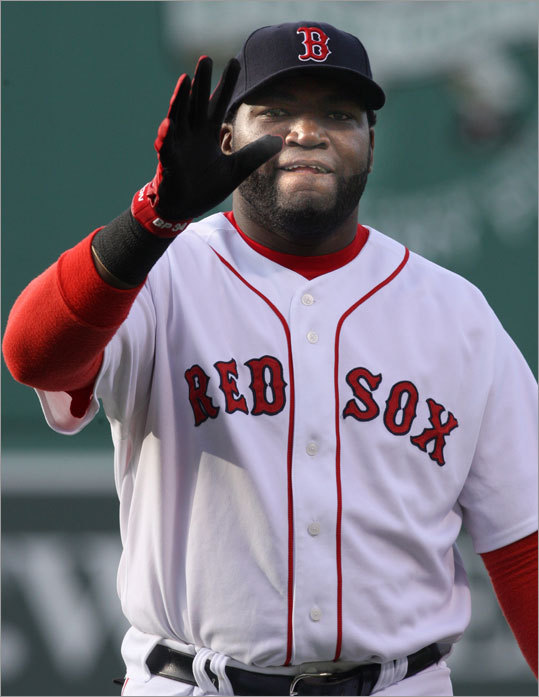 David Ortiz of the Sox waved to fans before the game.