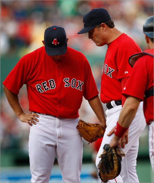 Daisuke Matsuzaka had a visit from Sox pitching coach John Farrell during a rough first inning.