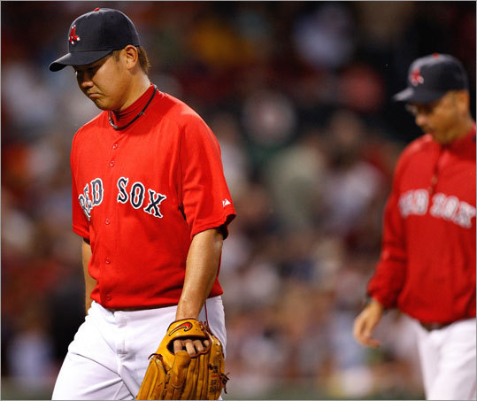 Sox starter Daisuke Matsuzaka headed for the showers followed closely by manager Terry Francona, who took him out in the fifth inning of game against the Braves.