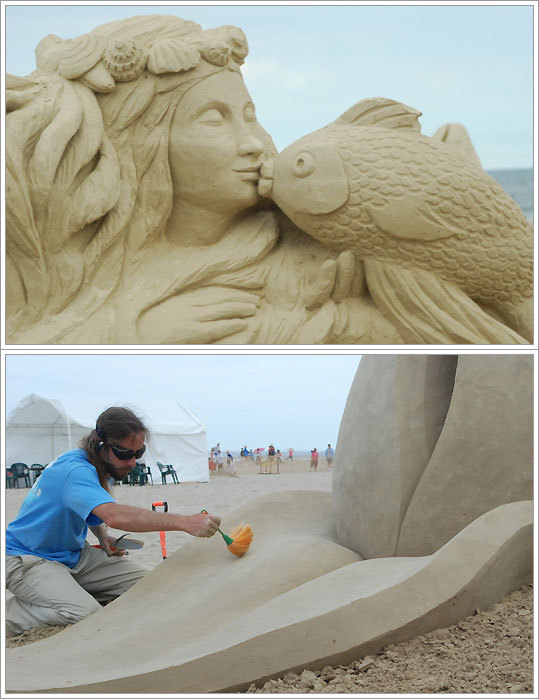 The ninth annual Master Sand Sculpting competition was held this weekend in Hampton Beach, N.H. Twelve master sculptors from around the world competed for a share in the $15,000 prize purse and the chance to place in the prestigious event. See all the entries and vote for your favorite. Bottom, Sculptor Carl Jara puts the final touches on his entry in the competition.