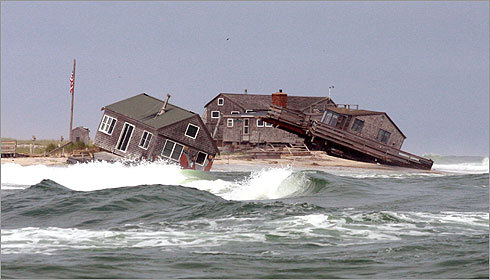 Two of five summer beach houses on the southern tip of Nauset Beach were knocked off their foundations by a recent storm. Read the article by the Boston Globe's Brian MacQuarrie