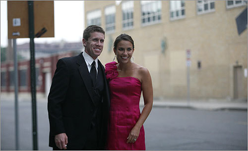 Roush Fenway Racing driver Carl Edwards arrived at Fenway Park for the reception.