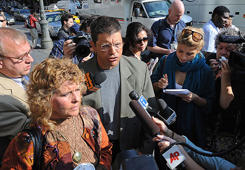 Victims of Madoff's ponzi scheme Dominic Ambrosino and his wife Ronnie Sue speak to the media outside Manhattan federal court.