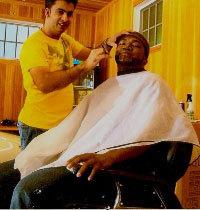 Barber Shop Jamaica Plain : Juan Fernandez does the business with David Ortiz in the garage of Big ...