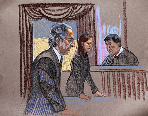 In this courtroom sketch, Bernard Madoff, left, is seen with prosecutor Lisa Baroni and judge Denny Chin in Manhattan federal court in New York, Monday, June 29, 2009.