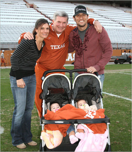 Garciaparra and his wife, soccer star Mia Hamm, had twin daughters Grace and Ava in March 2007. The family is pictured in Dec. 2007 with University of Texas football coach Mack Brown.