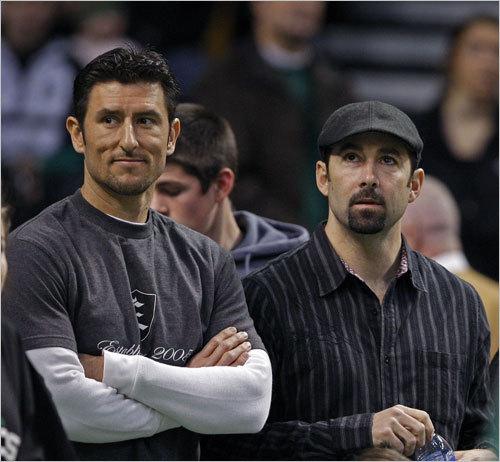 Garciaparra (left) joined good friend and former teammate Lou Merloni at a Celtics game on Jan. 25, 2009.