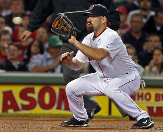 (Part 1) In the top of the fourth inning, Oakland's Bobby Crosby (not pictured) hit a line drive off of Tim Wakefield that went right into the waiting glove of Red Sox third baseman Kevin Youkilis...