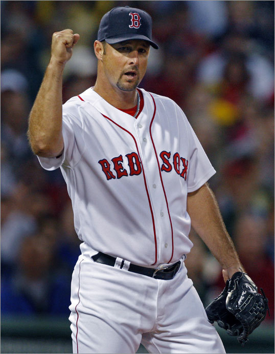 (Part 2)...Kevin Youkilis (not pictured) then threw to first base to double off Mark Ellis (also not pictured), eliciting a fist pump from Tim Wakefield...