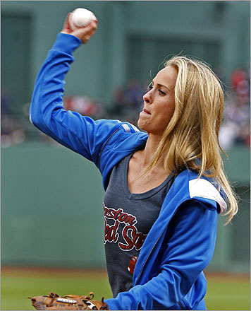 Before the start of Wednesday night's game between the Red Sox and Oakland Athletics at Fenway Park, Heather Mitts of Women's Professional Soccer's Boston Breakers warmed up before throwing out the ceremonial first pitch.