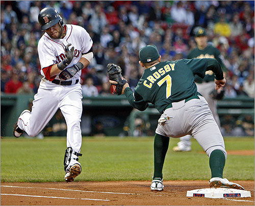 Dustin Pedroia ducked as the throw got to Oakland 1B Bobby Crosby in the bottom of the first inning.
