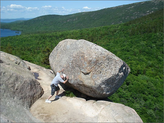 At Bubble Rock in Acadia, Maine. 'Look out below.'