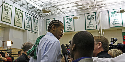Veteran NBA forward Rasheed Wallace met the media Thursday, at the Waltham training facility of his new team, the Boston Celtics. Wallace signed a three-year deal for $18 million, starting with a $5.8 million midlevel exception, with a player option on the third season. Read the Boston Globe article Welcoming committee Read the Bob Ryan column Winning at home has new meaning